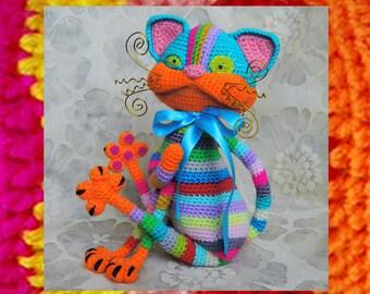 Amigurumi Cat Pattern. Crochet Tabby positive cat. Striped colorful cat pattern. Original kitten. Amigurumi toy tutorial. Home decor