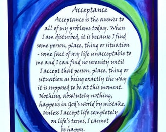 ACCEPTANCE 8x11 Motivational 12 Step Poster Sobriety Recovery Liberate Sponsor Inspire Eating Disorder Heartful Art by Raphaella Vaisseau