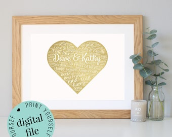 50th WEDDING ANNIVERSARY GIFT - Word Art - Printable Gift - 50 Year Anniversary - Golden Anniversary - Watercolour Image - Personalised Gift