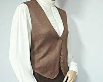 1970's Sweater Vest Women's Vest Vintage Knit Vest Brown Button Front Vest Size Small