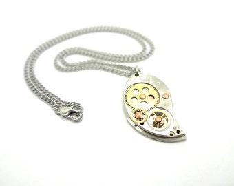 "Steampunk Clockwork Necklace Lovingly Named ""Paisley Gear"""