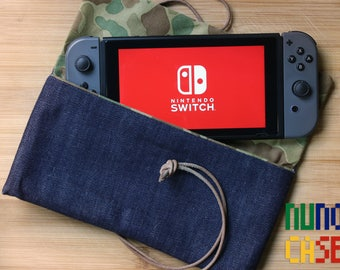 Raw Denim & Leather Nintendo Switch Case - Camo Lined