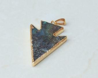 Labradorite Arrowhead Pendant - Labradorite Arrow Pendant - Labradorite Pendant - Gemstone Pendant - Gold Edge - 31mm x 40mm - 2288