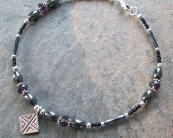 Hematite & Purple Crystal Ankle Bracelet - Chakra / Zen Style Jewelry