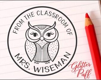 Teacher Stamp - Teacher Classroom Library Stamp - Library Book Stamp - Teacher Gift -  Pretty Owl  (4565)   - New Teacher Gift  - Mrs  Owl