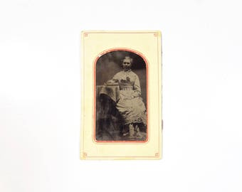 Vintage Tintype Photo of Woman with Book / Civil War Era Tintype Photograph