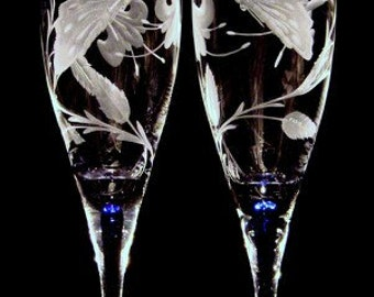 Wedding Glasses, Personalized Wedding Glasses,  Custom Wedding Glasses, Hand Engraved,  Luxury Wedding, Fine Art, Art Glass, Glass Art