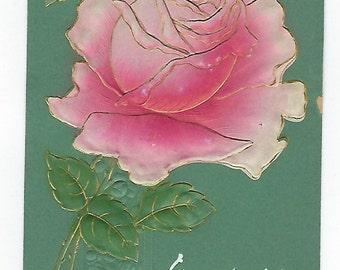 Rose Postcard, Antique Postcard, Pink Rose, Green Postcard, Embossed, Ephemera