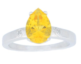 2 Ct Citrine & Diamond Pear Ring .925 Sterling Silver Rhodium Finish