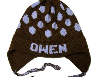 Personalized Earflap Hat - Polka Dots