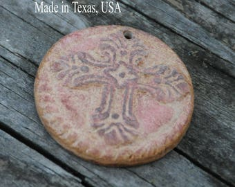 Pottery Bead with Cross in a Mix of browns