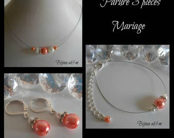 Set of 3 wedding rhinestone and white pearls and coral pieces