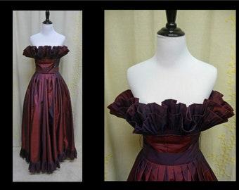 Vintage 1980s Dress - Designer Victor Costa 80s does 50s Plum Sharkskin Taffeta Strapless Pleated Shelf Bust Gown