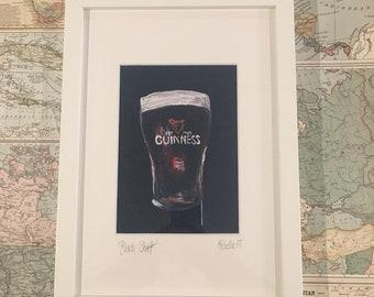 "Pint of the ""Black Stuff"" Print   Acrylic Painting   Irish Stout Beer"