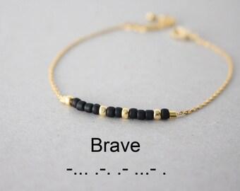 Morse Code Brave Bracelet, Morse code Bracelet, Morse code beaded bracelet, inspiration bracelet, secret message jewelry