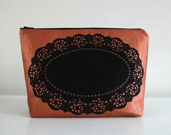 Copper screen printed doily zip bag/clutch/pouch