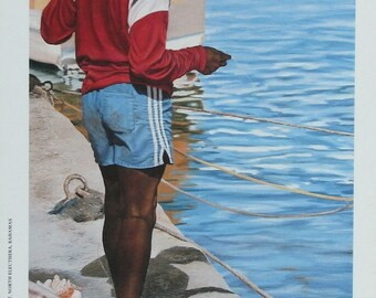 Playin Hooky - Bahamian art print of original oil painting by Nicole Minnis