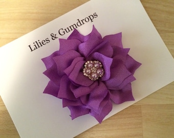 Hair Flower - Wedding Hair Flower - Purple Hair Flower - Flower Hair Clip