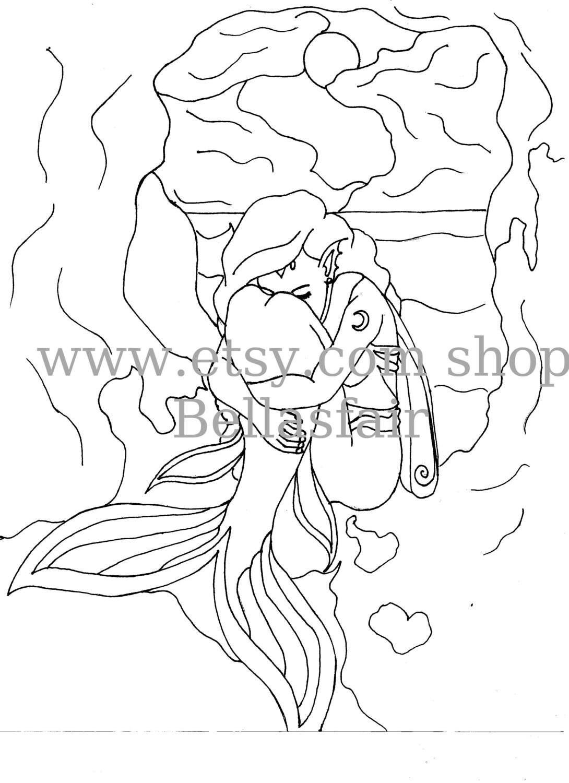 De la mano sirena dibujada Mythical página para colorear