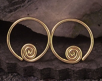 Rose Gold Sleeper Hoops * Pink Gold Earrings with a Swirl - Half Inch or Customize to Your Size Also  Available in Yellow Gold