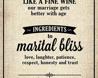 Front or back label for wine bottles. Ingredients to Marital Bliss. Rustic, burlap look. Print at home on sticker paper! Digital download.