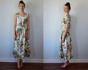 Vintage Cotton Summer Dress, Carol Anderson California, Floral Dress, Dress and Cropped Jacket, Casual Dress, Cotton Dress Set