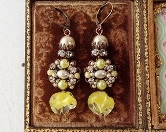 Crowned Yellow Long Earrings in Marie Antoinette Style. Assemblage Rhinestone Jewelry. Boho Rhinestone Earrings Baroque Rococo Pearl Jewelry