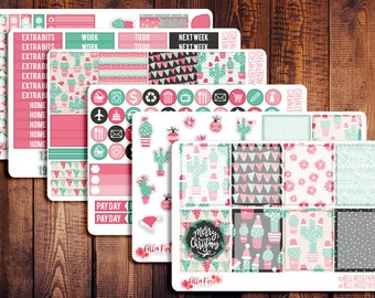 CLEARANCE! Christmas Cactus Planner Sticker Kit , for use in Erin Condren Planners, Happy Planner Sticker Kits,Winter Stickers W002
