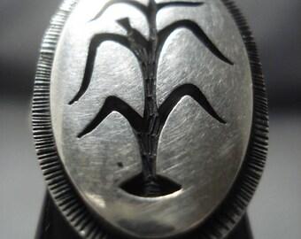 Amazing Ed Lomhongua Sterling Silver Cornstalk Ring Old Pawn