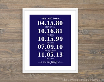 We Are Family Special Dates Print - Personalized Family Art Print - Custom Family Name and Dates Print - Navy Blue and White
