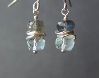 Aquamarine Earrings, Labradorite Earrings, Gemstone Earrings, Short Earrings, Dangling Earrings, March Birthstone