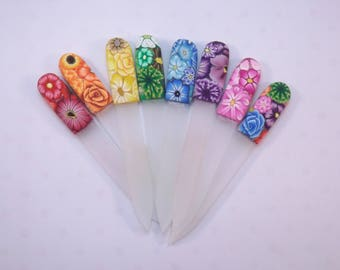 Your Choice Color Crystal Glass Nail File Handcrafted Polymer Clay Covered Purse Size Millefiori Floral