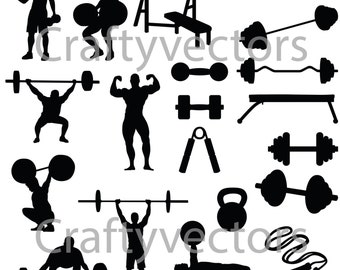Weight Lifting Silhouettes Vector File