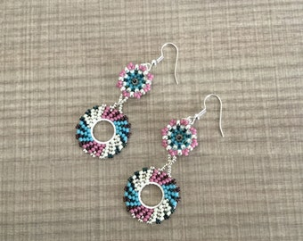 Blue raspberry pinwheel earrings