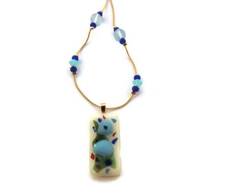 Fused glass necklace,rectangle off white green blue red fused necklace,fused glass pendant with blue glass beads