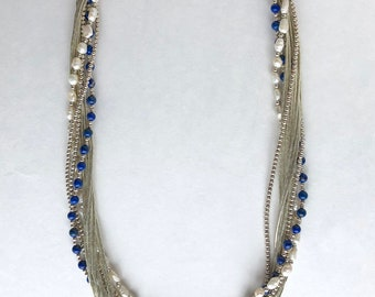 "Southwestern Sterling Lapis Pearl Liquid Silver Multi Strand Necklace 19"", Southwestern Necklace, Lapis Necklace, Liquid Silver Necklace"