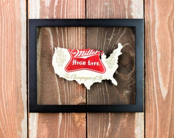 Miller High Life United States of America Beer Can in a Floating Frame- Perfectly unique gift for your Bar or Man Cave! Champagne of Beers