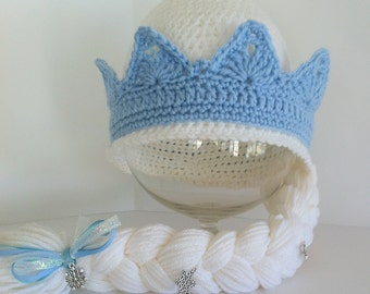 Frozen's Elsa Inspired Hat with Braid, Elsa's Crown With Braid, Children's Christmas Hat, Made To Order