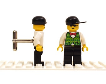 White shirt, red bow tie and green waist coat cufflinks. Cufflinks made with LEGO(R) bricks.   Cufflink Wedding gift
