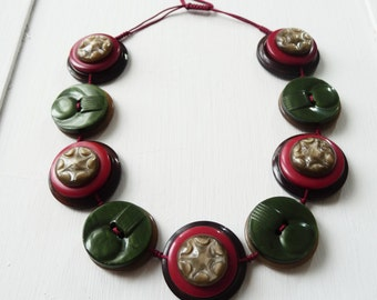 Autumn leaves - Vintage Button Handmade Necklace - one off design