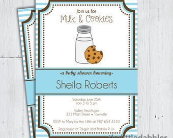Printable Milk and Cookies Baby Shower Invitation -- Sip and See Milk Bottle Classic Blue Stripe  -- PNG & JPG