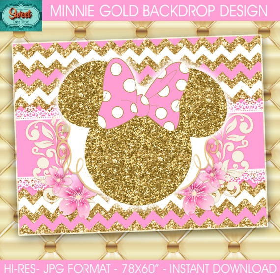 Gold minnie mouse printable digital backdrop background gold