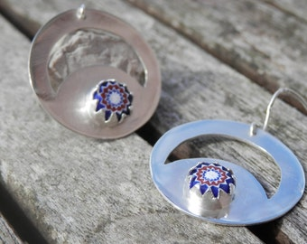 Earrings MURANO Glass Disc Deep Blue STERLING SILVER