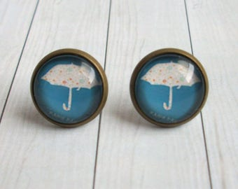 Umbrella Earrings Cabochon Earrings Umbrella Studs
