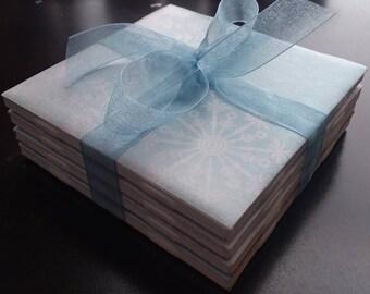 Blue/White snowflake handmade ceramic tile coasters