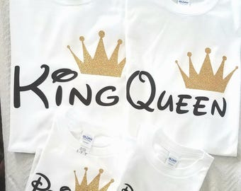 Disney King Queen Prince Princess 01 Father Mother Daughter Son Matching shirts , King and Queen shirts, UNISEX (Price per Tshirt)