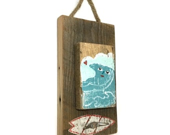 Wave Surf Art Beach Decor Hook-Personalize and Adopt This Original Art Item- Waves Painting OOAK Reclaimed Wood Surf Home Decor-Mangoseed