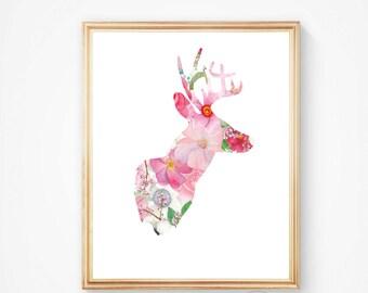 Deer print, deer art, deer wall art, deer head print, deer antler, moose print, printable wall art, art deer print, deer head,