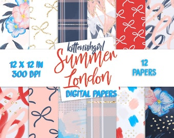 Summer London DIGITAL PAPER Modern Abstract Blue Red Navy Grey Bows Pansies
