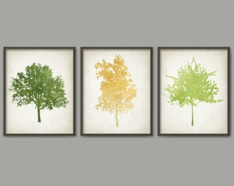 Colorful Trees Print Set Of 3 - Watercolor Trees Wall Art Prints - Modern Home Decor - Forest Wall Art - IG2420